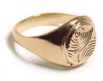 14K Gold Filled spiral etching Signet ring, 14K Gold plated spiral etching Signet ring, Pinkie Seal ring