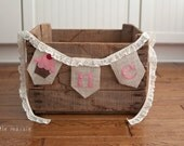 ONE Cupcake Burlap High Chair Banner for Birthday or Cake-Smash