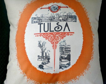 Vintage Tulsa Pillow Cover