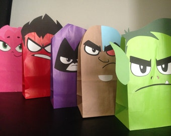 Teen Titans Printables for Gift Sacks (Color)