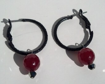 Genuine AAA Ruby Sparkly Hoop Earrings Hand Made In USA