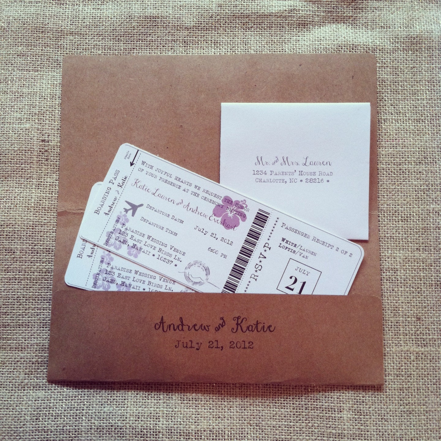 Wedding Abroad Invitation Wording Ideas: Boarding Pass Destination Wedding Invitation Set By