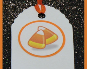 Halloween gift tags, Candy Corn gift tags, Candy Corn favor tags, set of 10