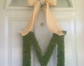 "14"" PERSONALIZED  Moss Garden Monogram , PERSONALIZED Moss Wedding   Monogram, Elegant Fall Wreath"