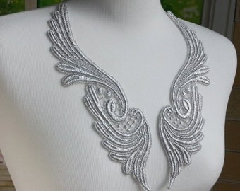Lace Applique Pair - Silver Venise Wing Lace for Jewelry, Altered Clothing, Sewing, Costume