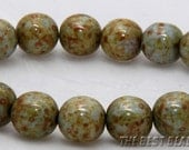 30pcs Marmoreal Travertine Round Czech Glass Pressed Beads 10mm