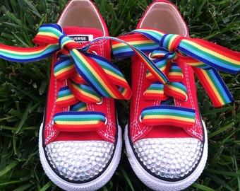 RAINBOW BLING SHOES - Rainbow Brite costume - Rainbow Party - Rainbow Birthday - Clown Party - Clown Costume - Infant/youth size