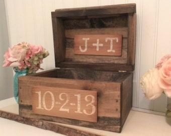 rustic wedding card box, burlap wedding reception card box