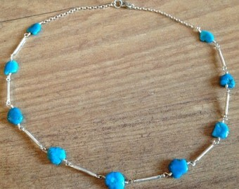 Handmade Arizona Turquoise And Sterling Silver Necklace