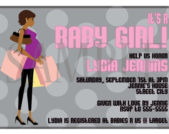 African American Baby Shower Invitation (Multiple to Choose From)