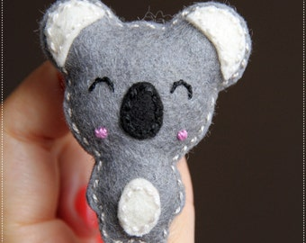Cute happy koala handmade brooch