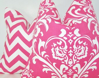 Pair Pink Pillow Covers, Pillow Covers, Decorative Pillows, All Sizes,  Euro,  Sham, Lumbar, Premier Prints, Candy Pink, Pink Chevron