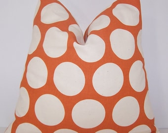 Fall Pillow, Orange Pillow, PILLOW COVER, Decorative Pillow,  Euro, Lumbar, Premier Prints Fabric, Sweet Potato, Orange Polka Dots, Sham