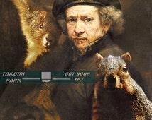 Squirrel photo bomb, Rembrandt, poster art, Surreal 11x14 print, squirrel art, funny animal art, college dorm room decor, wall art decor