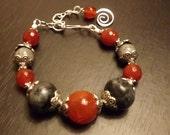 Red Agate, Red Carnelian, Labradorite Bracelet