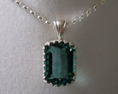 17.5 ct Green Tourmaline Pendant - Emerald Cut, Natural Gemstone - Hand Forged, Sterling Silver Crown Bezel