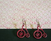 Red Vintage Bicycle Earrings