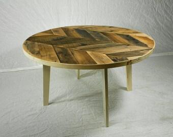 Round Herringbone Coffee Table