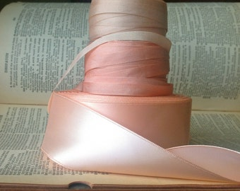 two yards soft peachy apricot satin ribbon