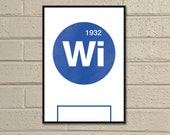 "Essential Elements: ""Wigan"" A4 Football Print in blue and white."