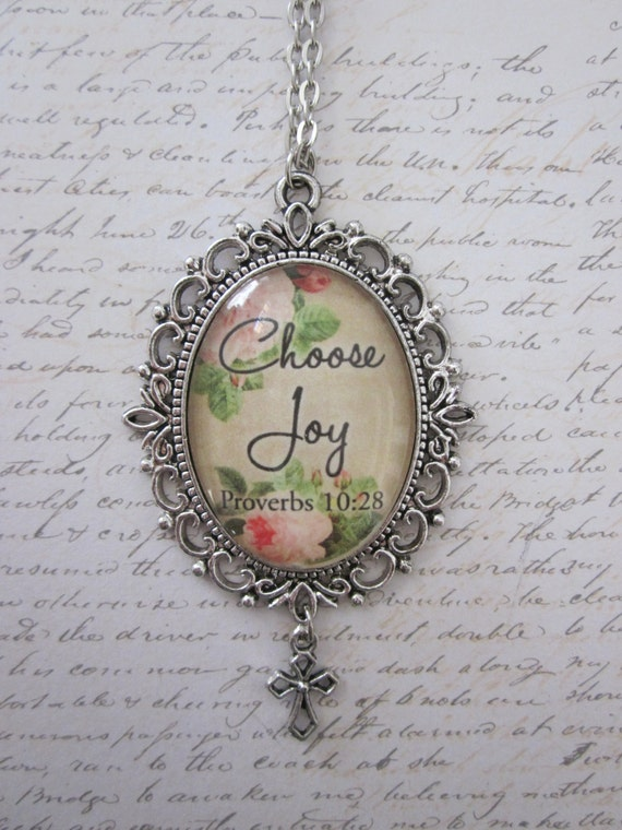 Choose Joy Proverbs 10:28 Vintage Rose Glass Filigree Pendant Necklace With Silver Cross Charm