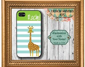 Preppy Giraffe Stripe Monogram iPhone Case, Personalized iPhone Case, iPhone SE iPhone 4, 4s, iPhone 5, 5s, 5c, iPhone 6, 6s, 6 Plus