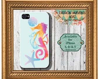 Seahorse iPhone Case, Nautical iPhone Case, iPhone 4, iPhone 4s, iPhone 5, iPhone 5s, iPhone 5c, iPhone 6, Phone Cover, Phone Case