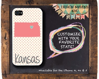 Kansas iPhone Case, Personalized iPhone Case, iPhone 4, iPhone 4s, iPhone 5, iPhone 5s, iPhone 5c, iPhone 6, Phone Case, Phone Cover