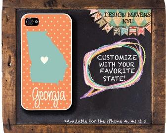 Georgia iPhone Case, Personalized State iPhone Case, Polka Dot iPhone Case, iPhone 4, 4s, iPhone 5, 5s,5c, iPhone 6, 6s, 6 Plus, SE