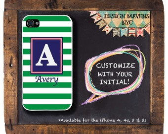 Preppy Stripe iPhone Case, Personalized iPhone Case, Monogrammed iPhone, iPhone 4, 4s, iPhone 5, 5s, iPhone 5c, iPhone 6, 6s, 6 Plus