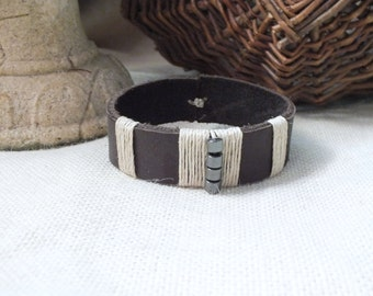 Dark Leather wrapped bracelet