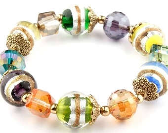 Multi Murano Glass Beaded Stretch Fashion Bracelet with Gold BeadCaps