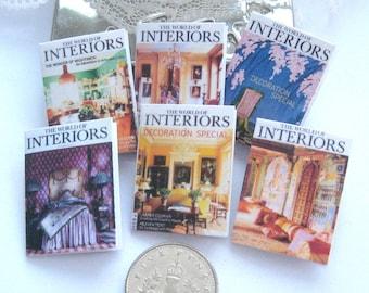 dollshouse magazines interiors  x 6  miniature 12th scale Rainbowminiatures