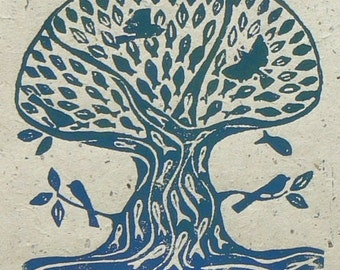 Sea Tree Linocut print