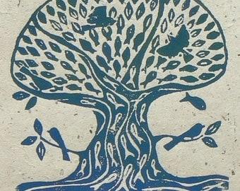 Sea Tree Linocut print