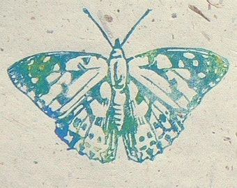Painted Lady Butterfly Lino cut print