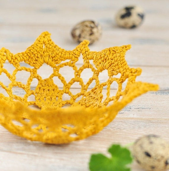 Doily Lace Bowl Crochet Mustard Yellow Home Decor Gift