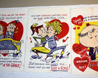 THREE 1940's Vinegar Valentine Insults - In a Rush, Just a Fool and Sitting on Brains