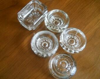 vintage crystal salt dishes  1940's