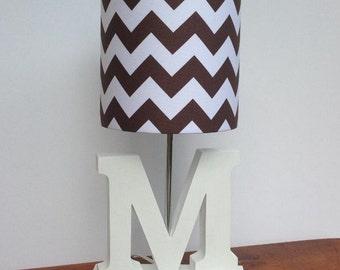 Handmade Brown/White Chevron Drum Lamp Shade - Nursery, Girl's or Boy's Lamp Shade