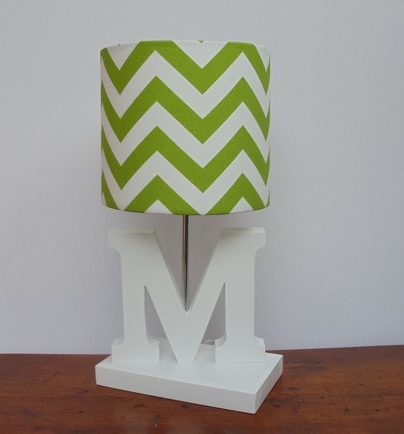 small chartreuse green white chevron drum lamp shade nursery girl 39 s. Black Bedroom Furniture Sets. Home Design Ideas