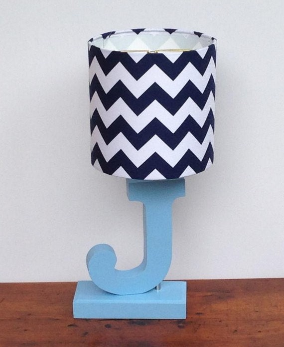 Small Navy Blue White Chevron Drum Lamp Shade Nursery Or