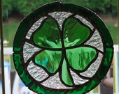 St. Patricks day stained glass Shamrock suncatcher wall hanging - ManemannArt