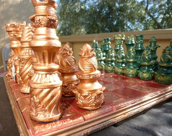 VERY LARGE Baroque Style Chess set. Customisable Colours (Pieces Only/Board Not Included)