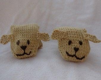 Hand Knit Children's Golden Puppy Mittens-medium size
