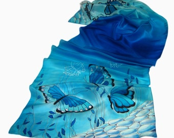 """Hand painted silk scarf """"In the steppes of azure"""".  Made to order."""