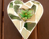 Heart Trinket Box -Glass Mosaic Lid with Decorative Resin Flower - ReTainReMakeReNew