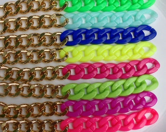 Colored Gold Chunky Chain Bracelets