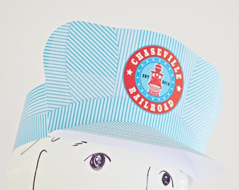 Printable Train Birthday Party Conductor Hat (Customized) from the Whistlestop Party Collection by Paper Built