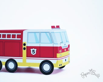 INSTANT DOWNLOAD - Printable Fire Truck Birthday Party Fire Truck Favor Box from the Sound the Alarm Party Collection by Paper Built